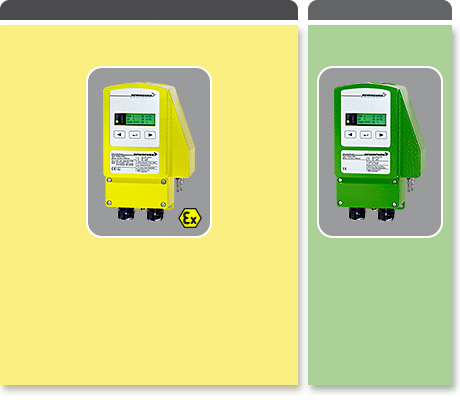 Electrical compact volume flow controller, depending on type for use in Ex- or safe areas